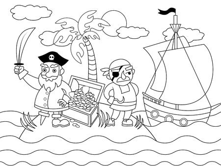 Photo pour Cartoon pirates on an uninhabited island coloring vector illustration. Black and white image. - image libre de droit