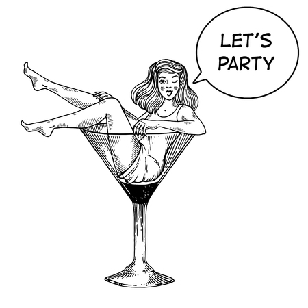 Illustration for Young sexy beauty woman sit on high martini cocktail glass engraving vector illustration. Scratch board style imitation. Text bubble. Black and white hand drawn image. - Royalty Free Image