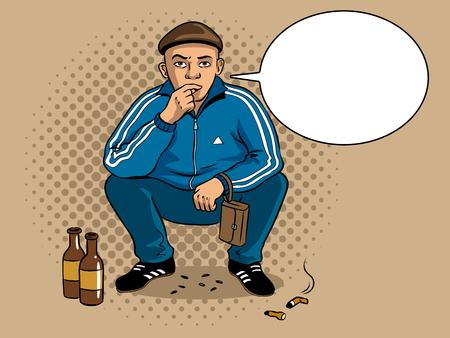 Illustrazione per Gopnik russian hooligan man pop art retro vector illustration. Colorful background. Text bubble. Comic book style imitation. - Immagini Royalty Free