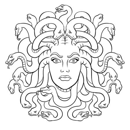 Illustration pour Medusa head with snakes Greek myth creature coloring vector illustration. Comic book style imitation. - image libre de droit