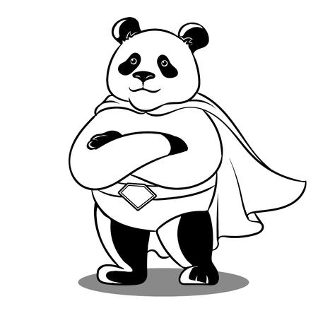 Illustration pour Panda superhero coloring vector illustration. Comic book style imitation. - image libre de droit