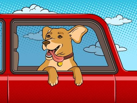 Ilustración de Dog in car window pop art vector illustration - Imagen libre de derechos