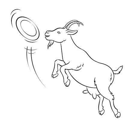 Ilustración de Goat catches frisbee disc coloring vector - Imagen libre de derechos