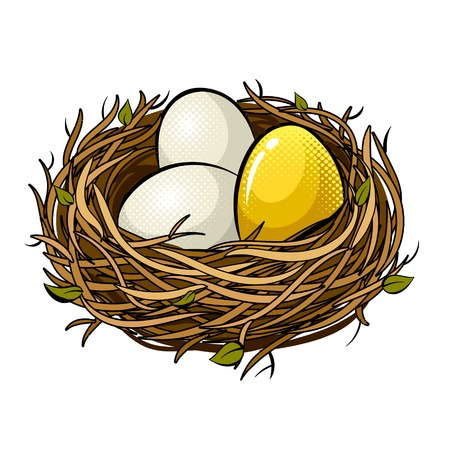 Illustration pour Nest with golden egg pop art retro vector illustration. Isolated image on white background. Comic book style imitation. - image libre de droit
