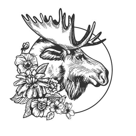 Ilustración de Moose head animal engraving vector - Imagen libre de derechos