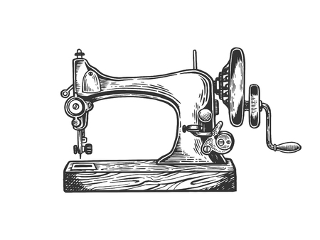 Illustration for Old mechanic sewing machine engraving vector illustration. Scratch board style imitation. Black and white hand drawn image. - Royalty Free Image