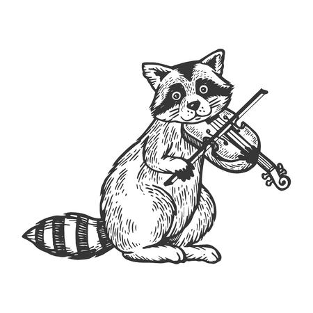 Ilustración de Raccoon playing violin engraving vector illustration. Scratch board style imitation. Black and white hand drawn image. - Imagen libre de derechos