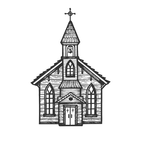 Illustration pour Old wooden church chapel engraving vector illustration. Scratch board style imitation. Hand drawn image. - image libre de droit