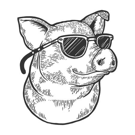 Ilustración de Pig animal in sunglasses sketch engraving vector illustration. Scratch board style imitation. Black and white hand drawn image. - Imagen libre de derechos
