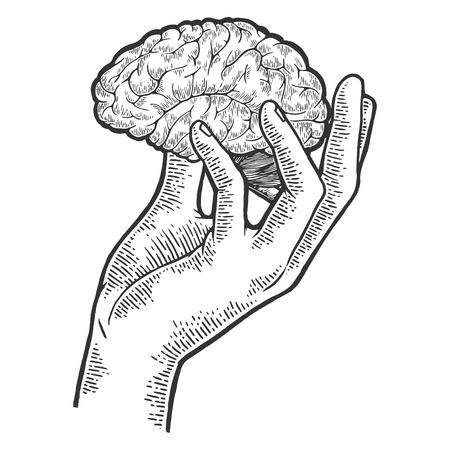 Illustration pour Human brain in hand sketch engraving vector illustration. Scratch board style imitation. Black and white hand drawn image. - image libre de droit