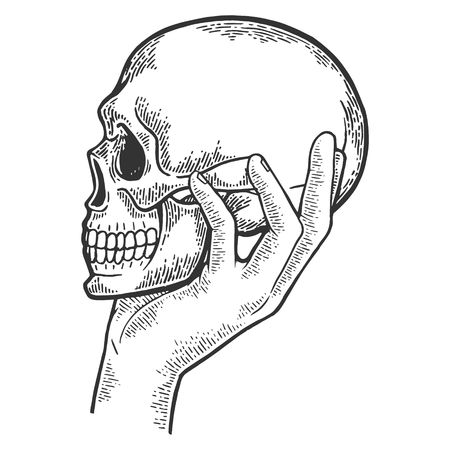 Illustration pour Human skull in hand sketch engraving vector illustration. Scratch board style imitation. Black and white hand drawn image. - image libre de droit