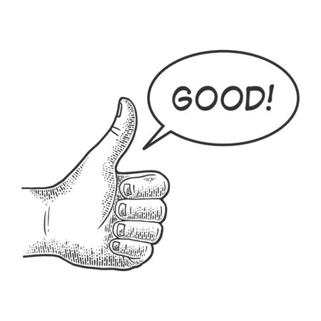 Illustrazione per Thumb up Good hand gesture sketch engraving vector illustration. Recommend. Scratch board imitation. Black and white hand drawn image. - Immagini Royalty Free