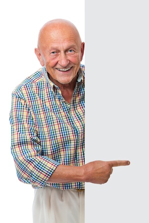 Photo for happy smiling senior man holds a blank board isolated on white - Royalty Free Image