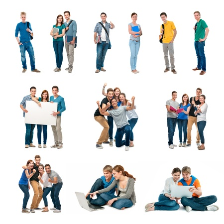 Photo for Group of students  Isolated over white background - Royalty Free Image