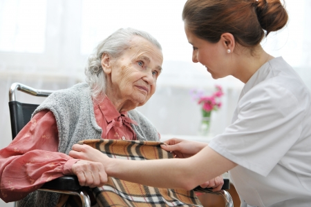Photo for Female nurse is taking care of the senior woman - Royalty Free Image