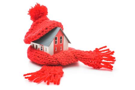 Foto de Thermal insulation, house energy efficiency concept isolated on white - Imagen libre de derechos