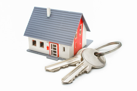 Photo for House with keys, home buying, ownership or security concept - Royalty Free Image