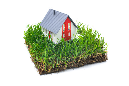 Photo pour House in green grass. Real estate concept.  Isolated on white background - image libre de droit