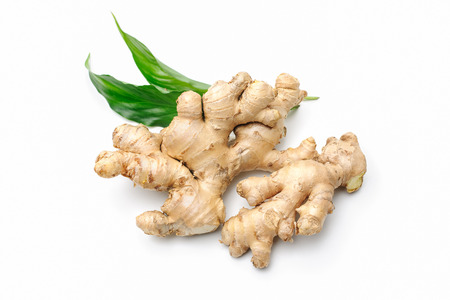 Photo for Fresh ginger with leaves isolated on white background - Royalty Free Image