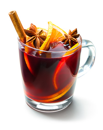 Photo for Hot red mulled wine isolated on white background - Royalty Free Image