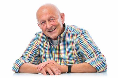 Photo pour Portrait of a happy senior man smiling isolated on white - image libre de droit