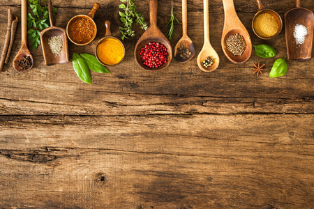 Photo for Various colorful spices on wooden table - Royalty Free Image