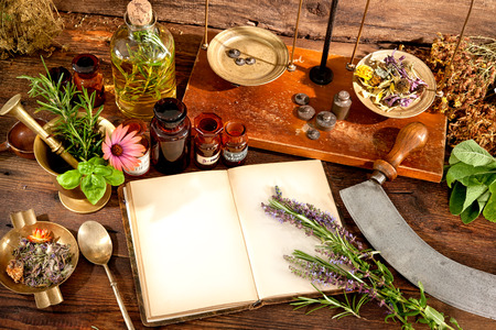Photo pour The natural medicine, herbal, medicines and old book with copy space for your text - image libre de droit