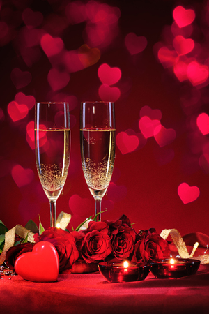 Photo for Valentines day background with champagne and roses - Royalty Free Image