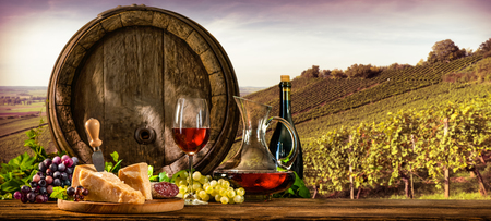 Foto de Barrel with glas of red wine and cheese on vineyard - Imagen libre de derechos