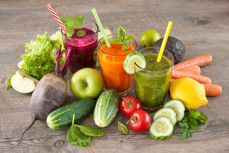 Photo for Various freshly squeezed fruit and vegetable juices - Royalty Free Image