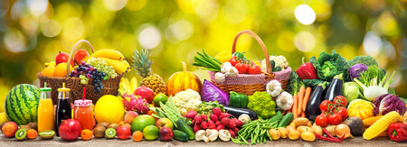 Photo for Fresh vegetables and fruits background - Royalty Free Image
