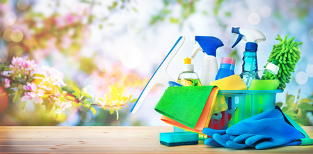 Photo for Cleaning concept. Housecleaning, hygiene, spring, chores, cleaning, cleaning supplies - Royalty Free Image