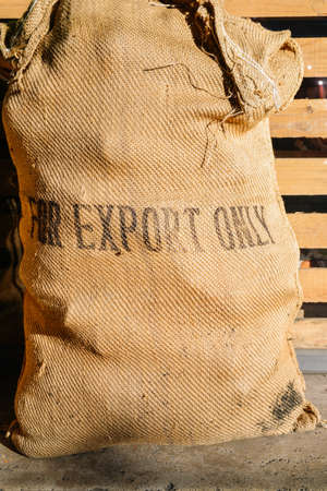 Foto per Rustic coffee bean bag with For Export Only written on front - logistics import/export concept - Immagine Royalty Free