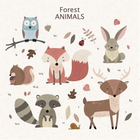 Photo pour Woodland tribal animals cute forest and nature design elements. - image libre de droit