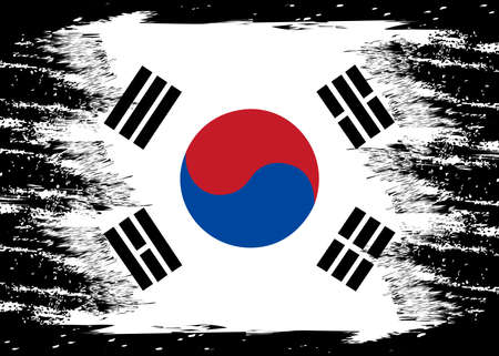 Illustration for Flag of Korea South. Brush painted Flag of Korea South. Hand drawn style illustration with a grunge effect and watercolor. Flag of Korea South with grunge texture. Vector - Royalty Free Image