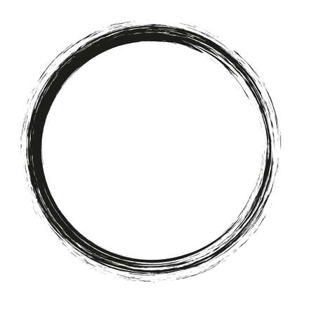 Illustration pour vector brush strokes circles of paint on white background. Ink hand drawn paint brush circle. Logo, label design element vector illustration. Black abstract circle. - image libre de droit