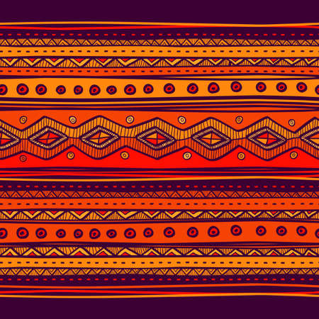 Ilustración de Abstract hand-drawn ethno pattern, tribal background. Pattern can be used for wallpaper, web page background, others. Bright vector tribal texture. - Imagen libre de derechos
