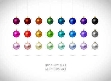 Illustration for Colorful Christmas ornaments isolated on white background. Hanging Christmas Decoration. Happy New Year and Merry Christmas label. Red,Gold, Blue, Green christmas balls. Vector illustration. - Royalty Free Image