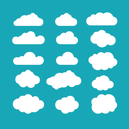 Foto de Set of blue sky, clouds. Cloud icon, cloud shape. Set of different clouds. Collection of cloud icon, shape, label, symbol. Graphic element vector. Vector design element for logo, web and print. - Imagen libre de derechos