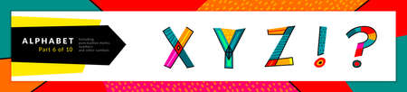 Ilustración de Font and alphabet. Vector stylized colorful x, y, z letters, and punctuation marks set. Typography design and illustration. Funky Font and fun typeset. - Imagen libre de derechos