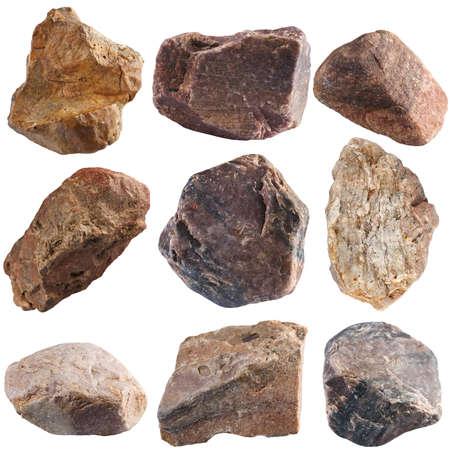 Foto de Set of stones isolated on white background. Natural minerals mined in Russia. - Imagen libre de derechos