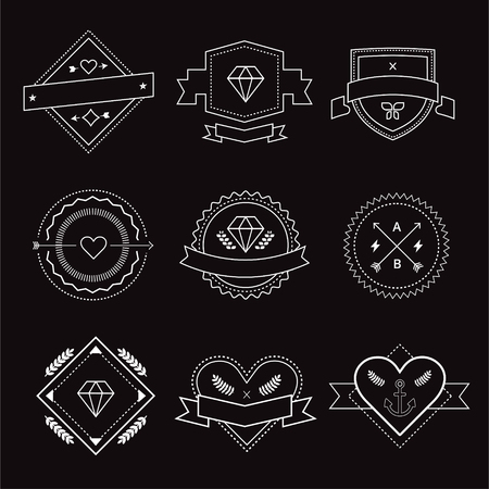 Illustration pour design elements. Vintage retro style. Arrows, labels, ribbons, symbols. Stock vector illustration. - image libre de droit