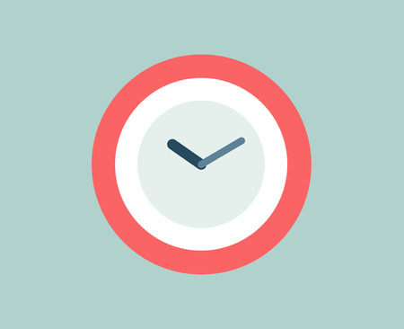 Illustration pour Red Clock icon isolated. Watch objects, or time and office symbol. Stock design element. - image libre de droit