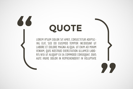 Illustration pour Quote text bubble. Commas, note, message, blank, template, text, marked, tag and comment or info, sticker, saying, quoting, information. Vector stock element for design - image libre de droit