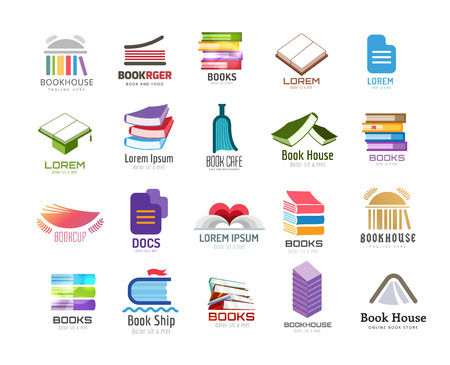 Illustration pour Book vector logo template set. Back to school. Education, university, college symbol or knowledge, books stack, publish, page paper. Design element. Isolated on white - image libre de droit