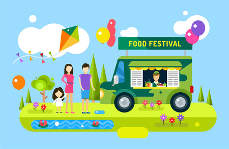 Illustration pour Happy family holiday or weekend summer time. Natural healthy food, premium product, car, mobile, man, wooman and girl, mobile restaurant, fast food, lunch time. Design elements - image libre de droit