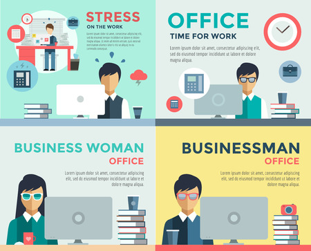 Ilustración de New job search and stress work infographic. Cv, head hunters, job search, new work. Labor Day. Office life and business man. Business situation. People in action. Computer, table, books, clock - Imagen libre de derechos