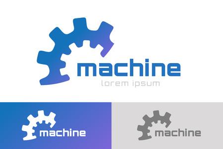 Ilustración de Gear vector logo icon template. Machine, progress, teamwork logo. Technology and techno shapes. Gear symbol. Teamwork vector logo. Teambuilding concept. - Imagen libre de derechos