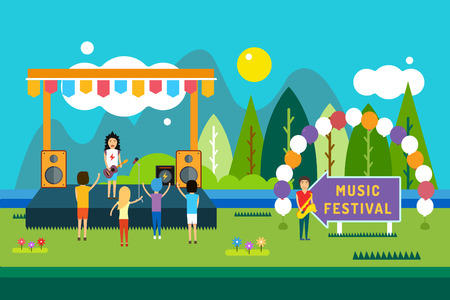 Illustration pour Music festival outdoor illustration. Landscape horizontal. Abstract people silhouette playing music. Song and sing, party and dj, musician, concert, people, fun. - image libre de droit