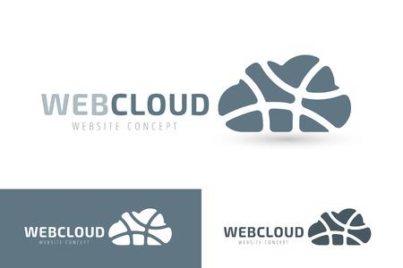 Illustration pour Abstract net cloud vector logo. Business cloud brand, cloud storage, files safety, sky cloud icon, clouds technology, backup, app, web design studio.Cloud network. Antivirus cloud logo.Clouds computer - image libre de droit